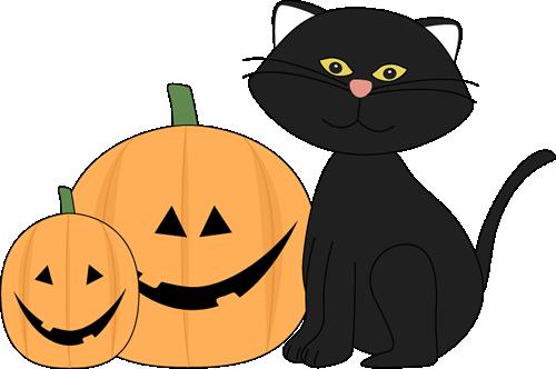 500x332 Halloween Black Cat And Jack O Lantern Clip Art
