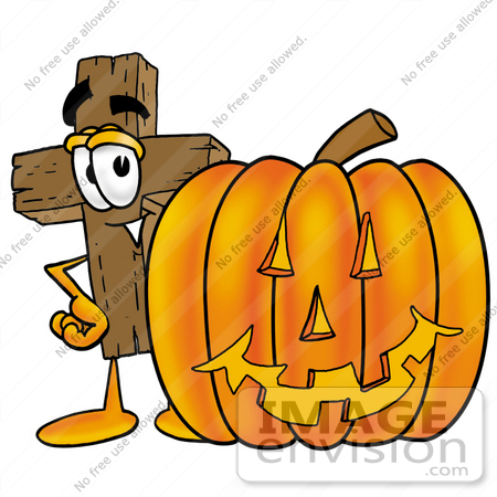 450x450 Clip Art Graphic Of A Wooden Cross Cartoon Character With A Carved