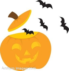 293x300 Clipart Of A Jack O Lantern With Bats