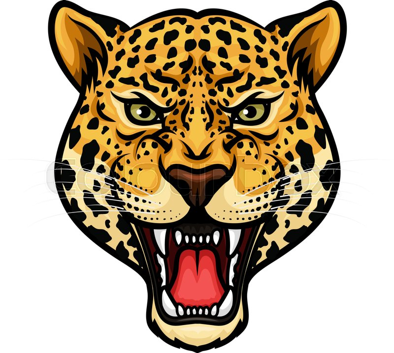 800x718 Jaguar Head Isolated Cartoon Mascot. Angry Leopard Or Panther