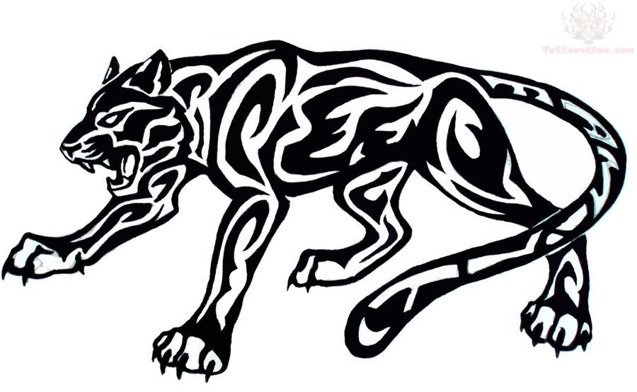 900x554 Awesome Black Tribal Jaguar Tattoo Stencil