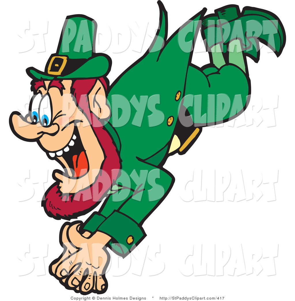 1024x1044 Vector Clip Art Of A Saint Patricks Day Irish Leprechaun Diving