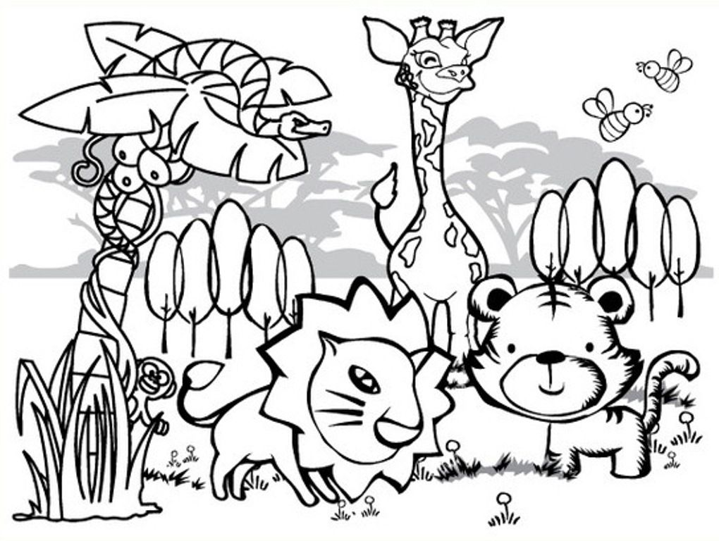 1020x768 Printable Coloring Animals