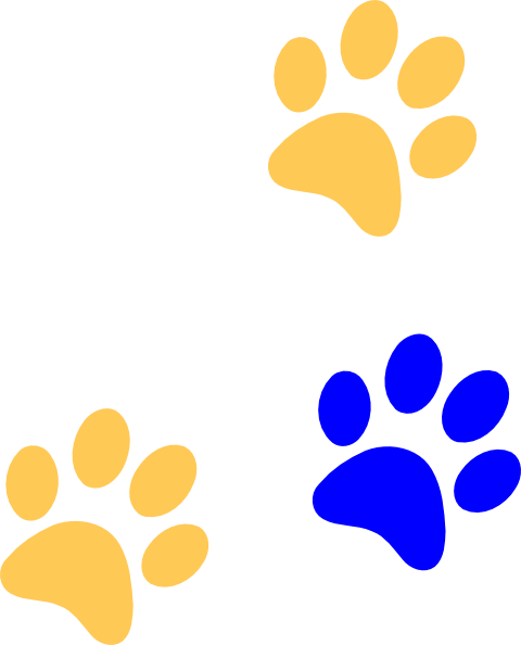 480x594 Bluegold Paw Print Clip Art