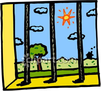 350x314 Clip Art Picture Of View Of The Outside Through Jail Bars