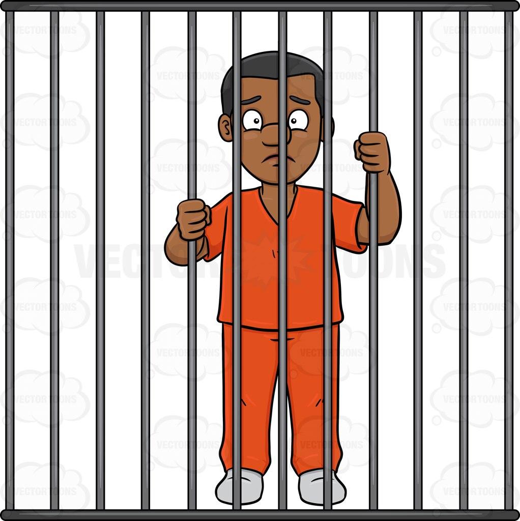 1022x1024 A Black Man Behind Bars Cartoon Clipart