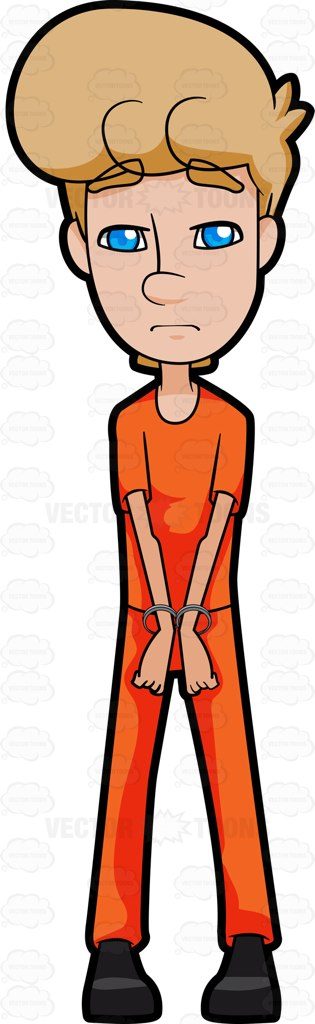 315x1024 A Man In Prison With Cuffed Hands Vector Clipart