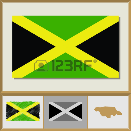 450x450 National Flag And Country Silhouette Of Jamaica Royalty Free