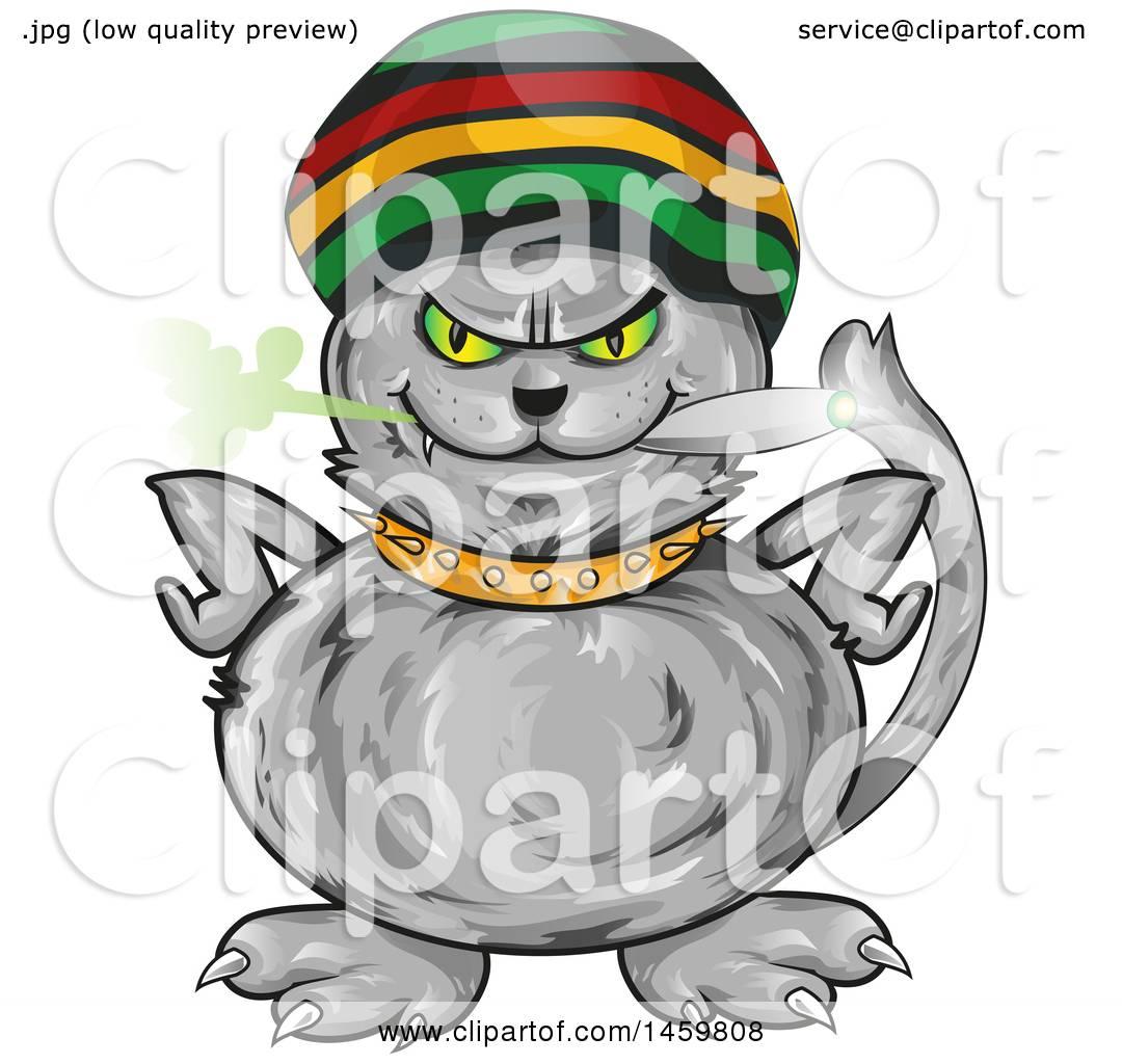 1080x1024 Clipart Of A Cartoon Jamaican Rasta Cat Smoking A Marijuana Joint
