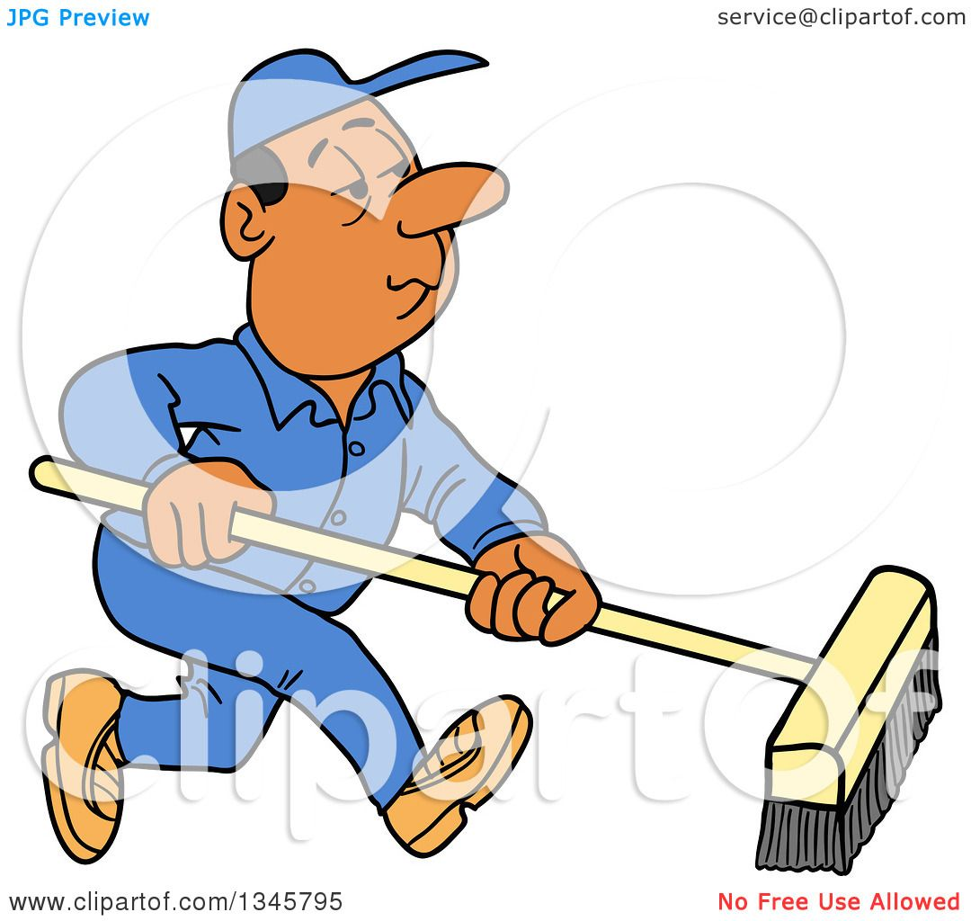 1080x1024 Clipart Of A Cartoon Black Or Hispanic Male Janitor Using A Push
