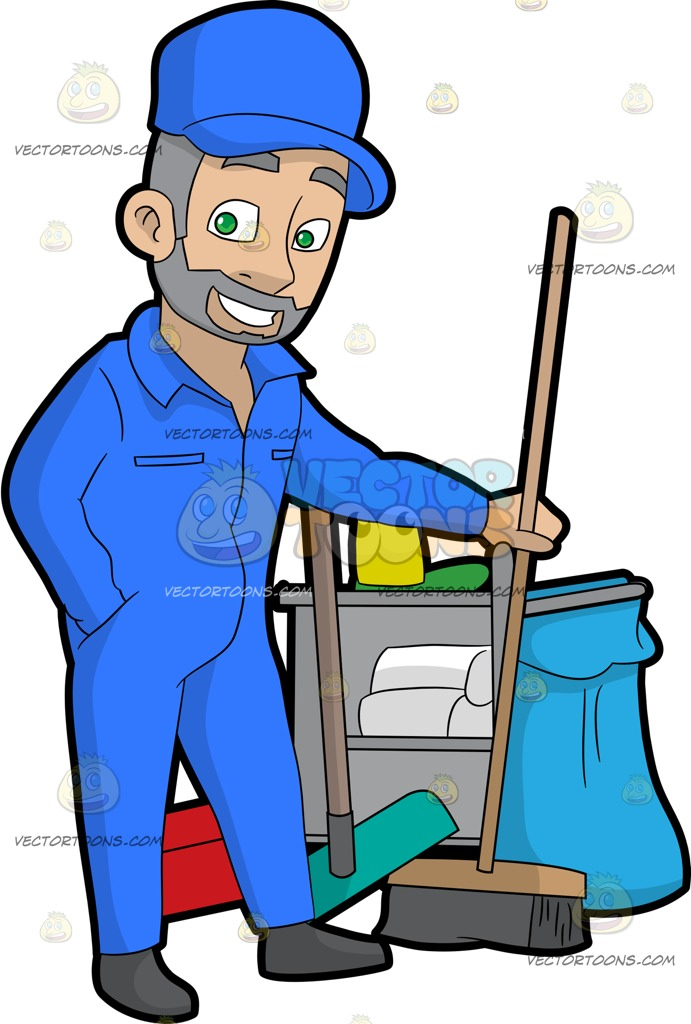 691x1024 A Confident Male Janitor Holding A Broom Cartoon Clipart