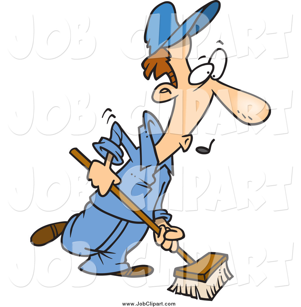 1024x1044 Job Clip Art Of A Cartoon Caucasian Janitor Using A Push Broom By