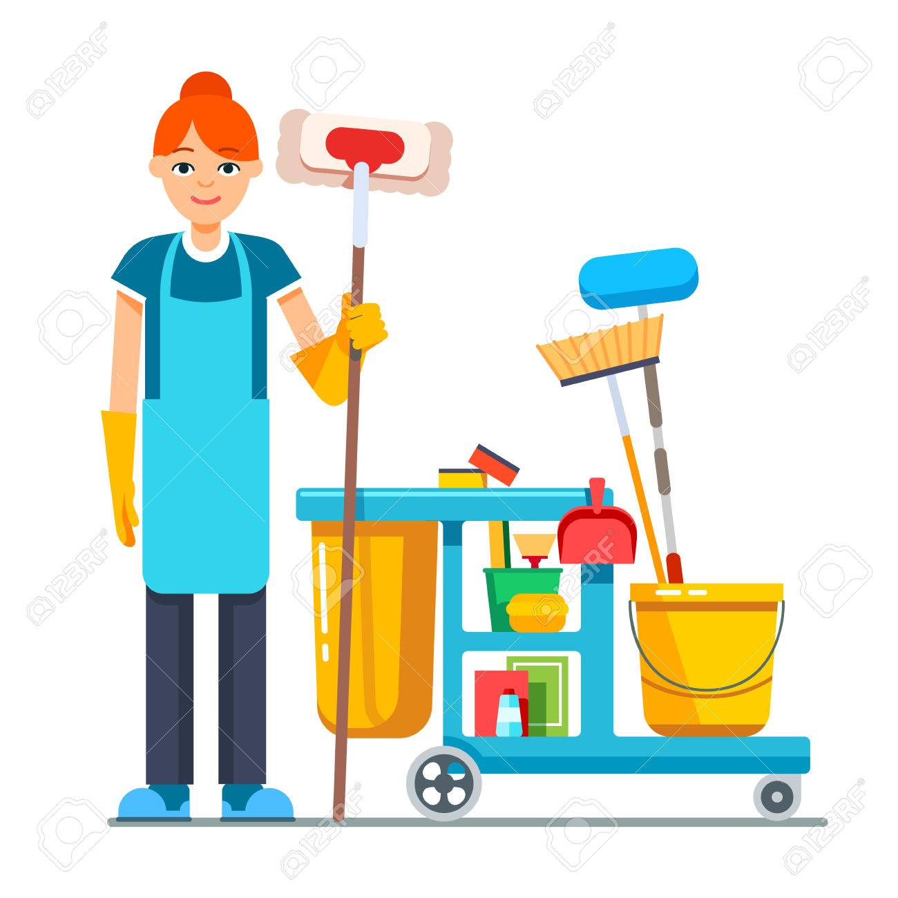 1300x1300 Professional Cleaner Woman With Janitor Cart Full Of Supplies