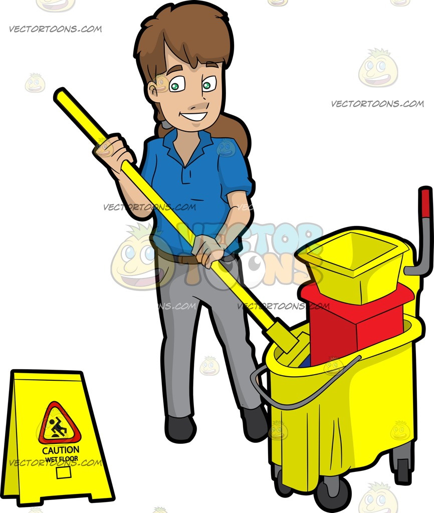 866x1024 A Female Janitor Wringing Out A Mop Cartoon Clipart
