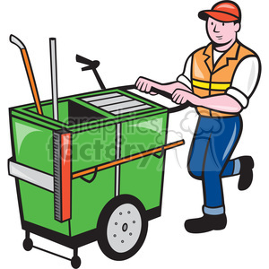 300x300 Royalty Free Cleaner Garbage Cart Push Janitor Shape 392414 Vector