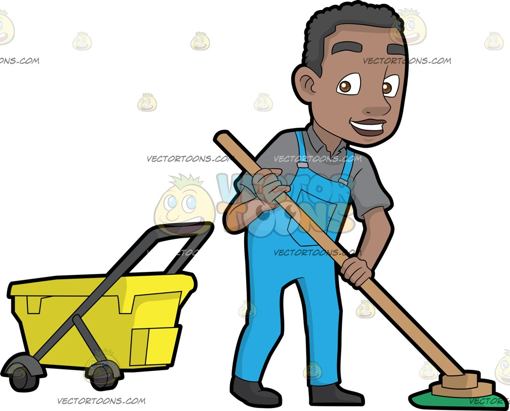 1024x827 A Happy Black Janitor Mopping The Floor Cartoon Clipart