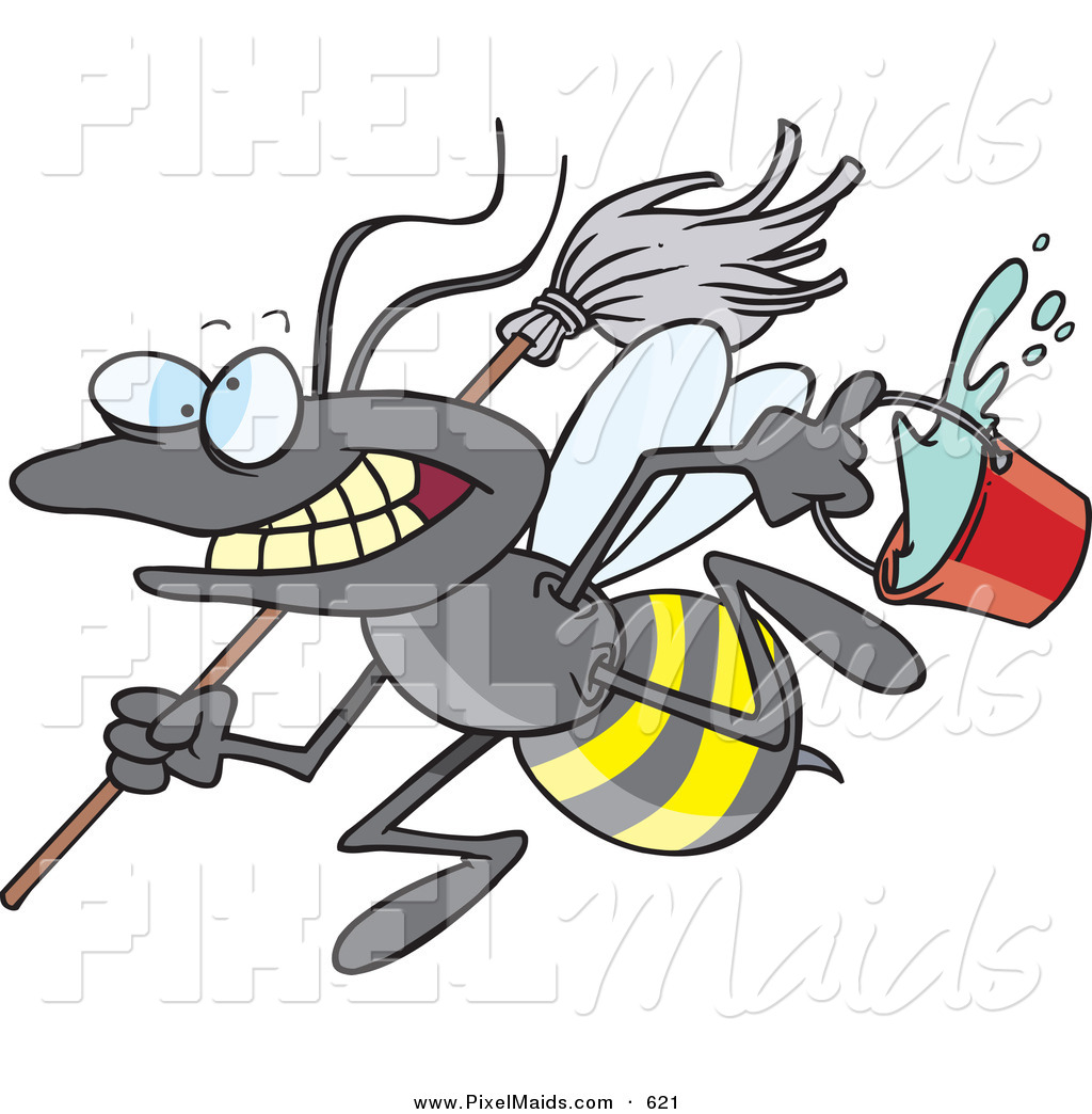 1024x1044 Clipart Of A Cartoon Busy Janitorial Bee On A Cleaning Spree By
