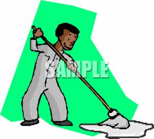 300x271 Art Image A Janitor Mopping Up A Puddle Of Water