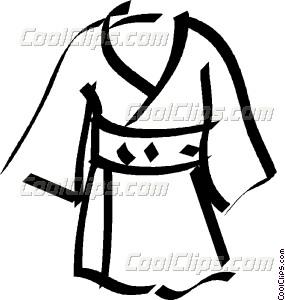 285x300 Japanese Kimono Vector Clip Art