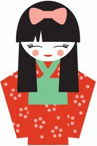 200x300 Kimono Clipart Japanese Doll
