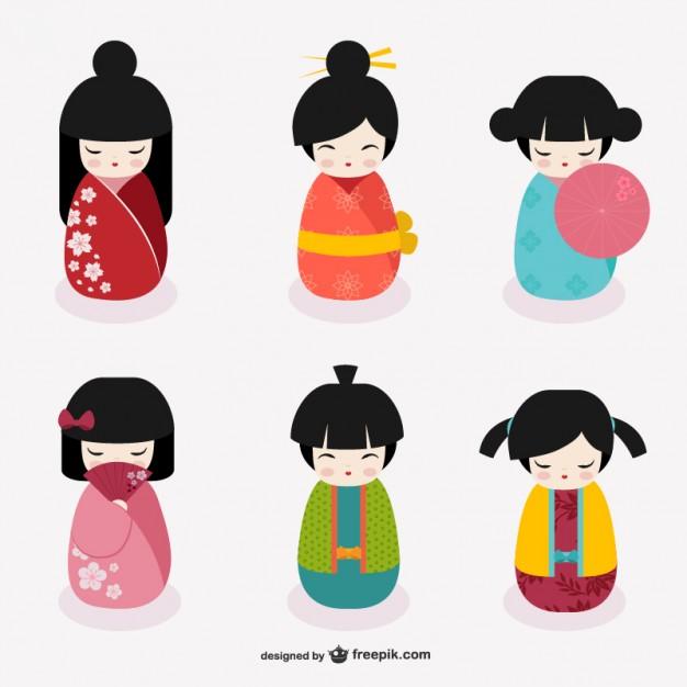 626x626 Japanese Kokeshi Dolls Vector Free Download