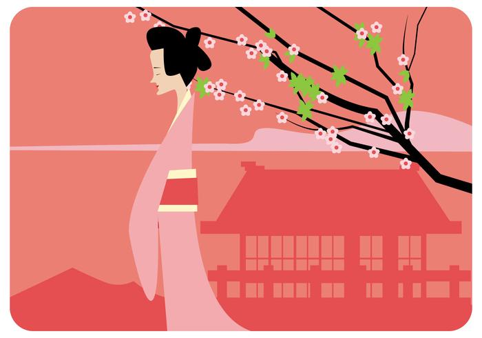700x490 Japanese Girl And Plum Blossom Vector