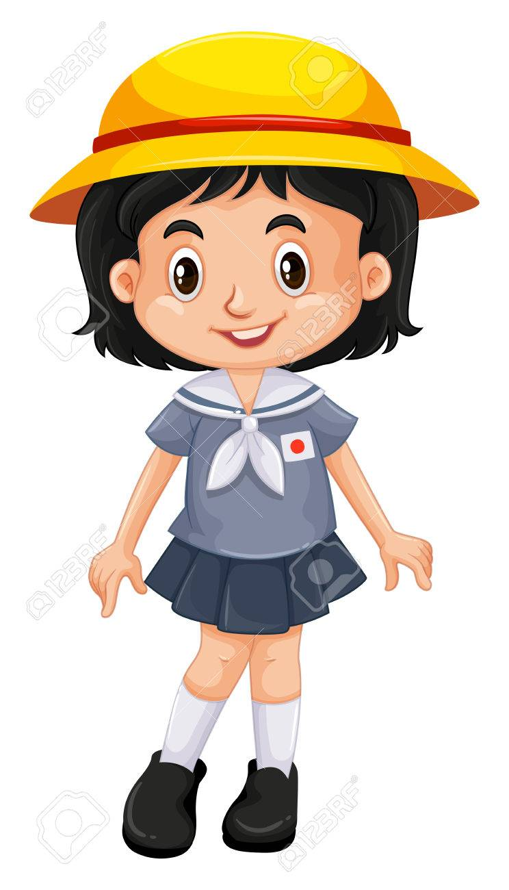 744x1300 Japanese Girl In School Uniform Illustration Royalty Free Cliparts