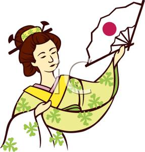 287x300 Picture A Geisha Holding A Japanese Fan