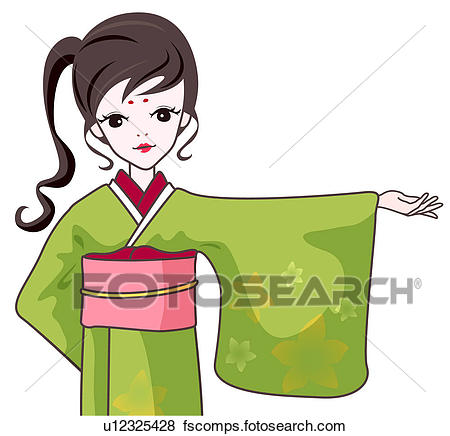 450x436 Stock Illustration Of Girl In Japanese Traditional Dress
