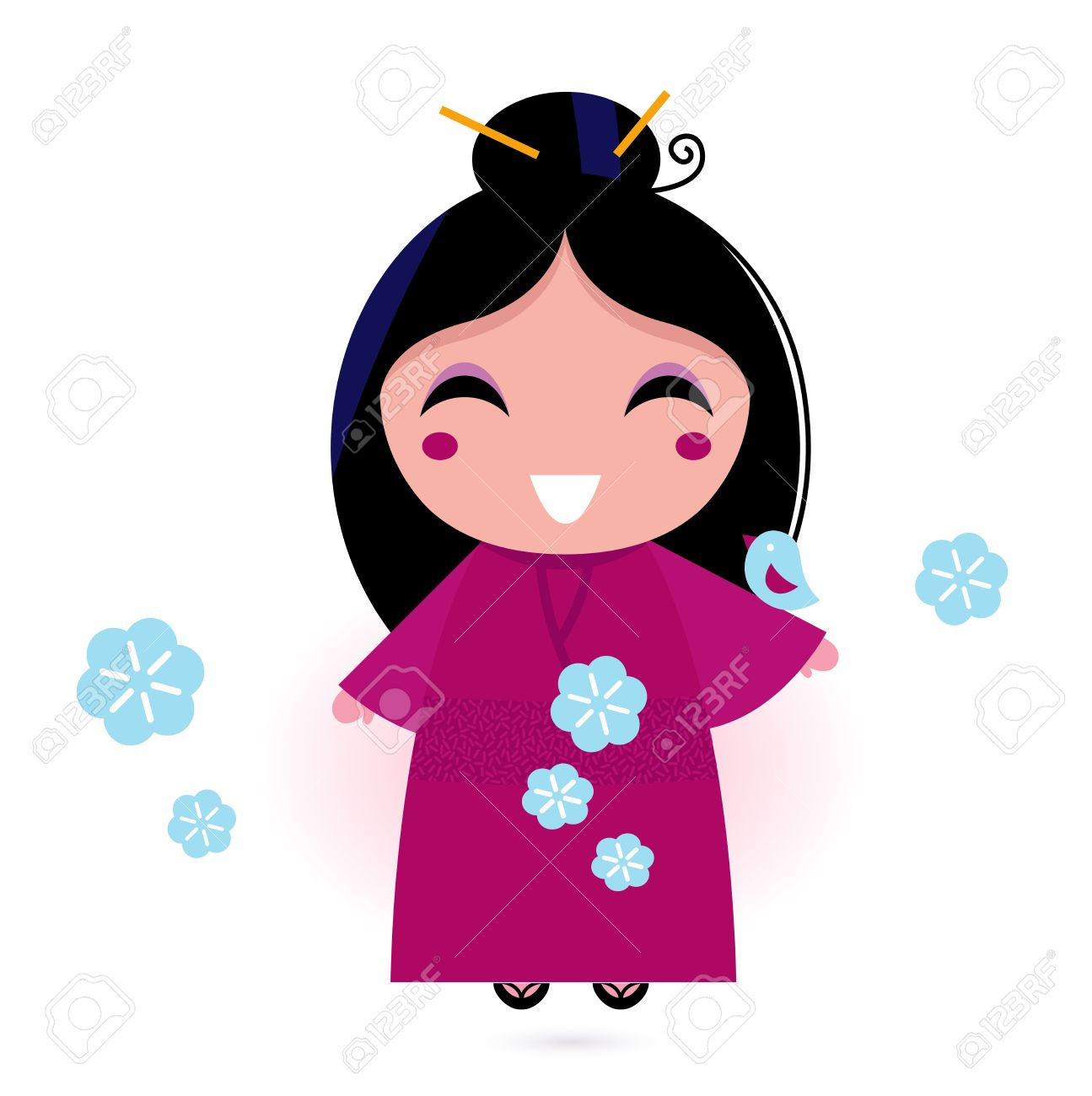 1295x1300 Stylized Cute Japanese Woman. Vector Illustration Royalty Free