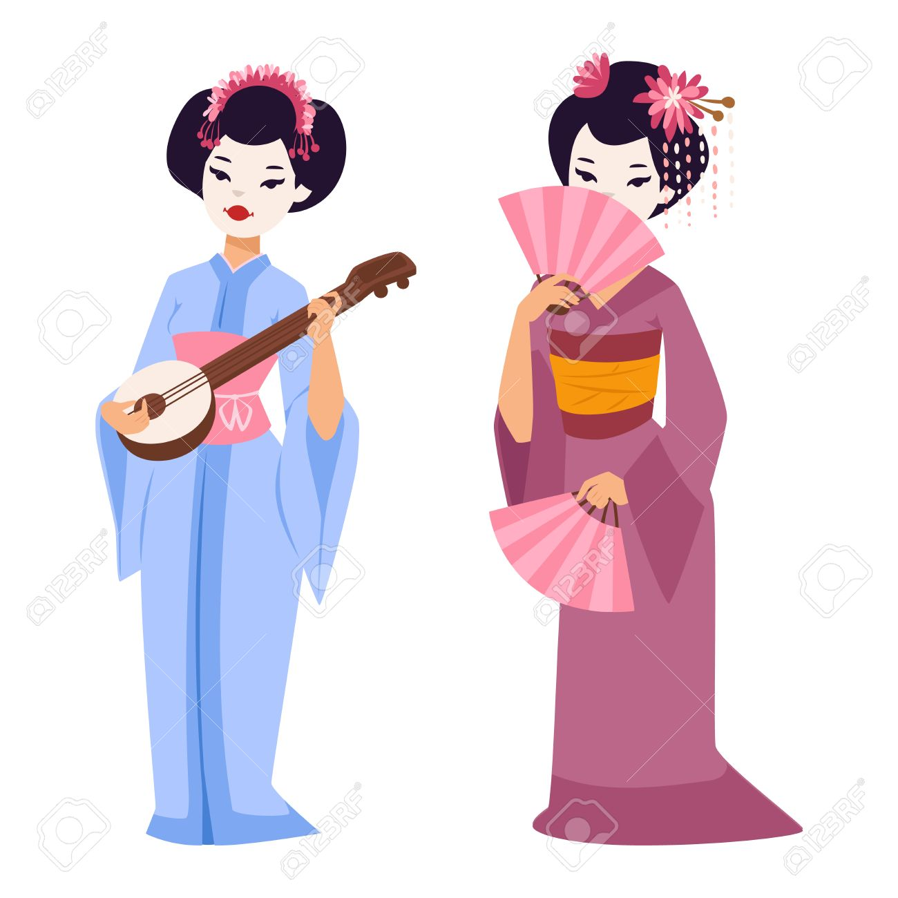 1300x1300 Vector Kokeshi Doll Japanese Geisha Girl Character. Colorful