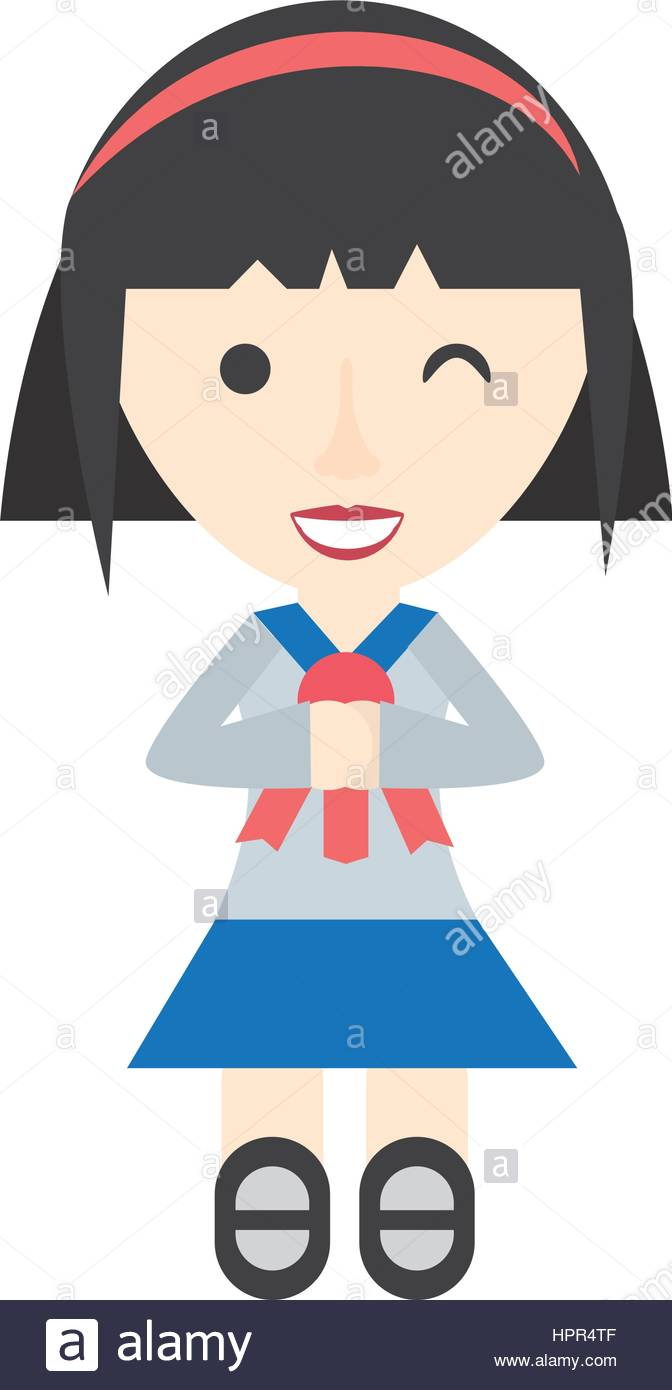 672x1390 Japanese Girl Student Uniform Stock Vector Art Amp Illustration