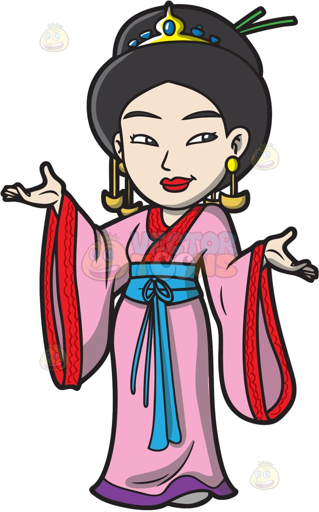 639x1024 A Japanese Princess At Outside Of A Hotel Cartoon Clipart