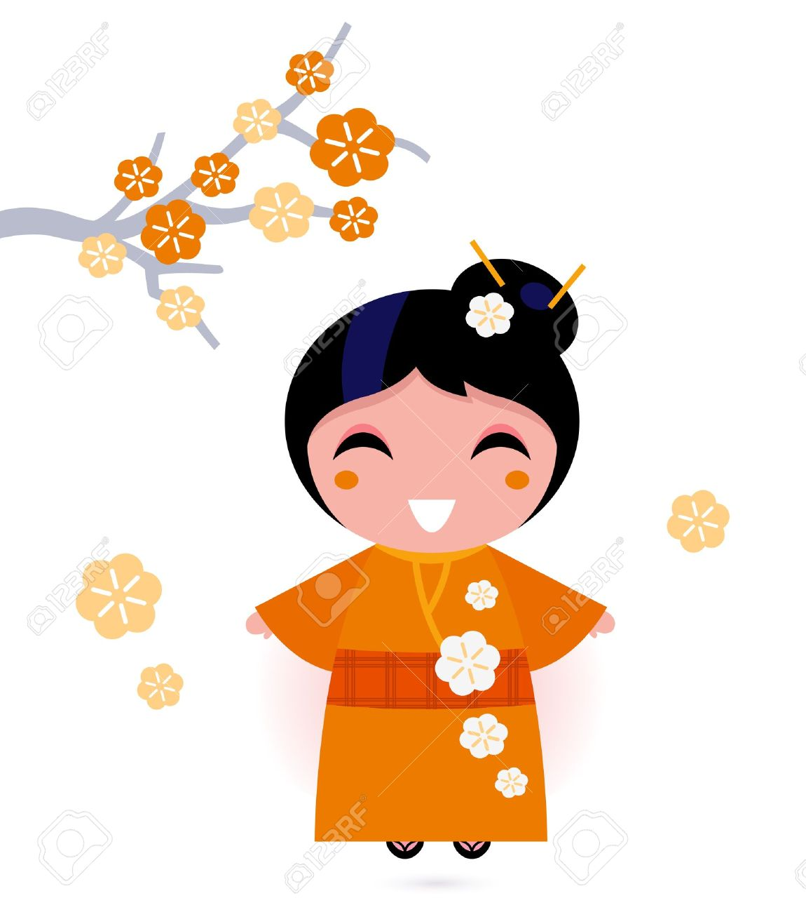 1150x1300 Cute Japanese Woman. Vector Illustration Royalty Free Cliparts