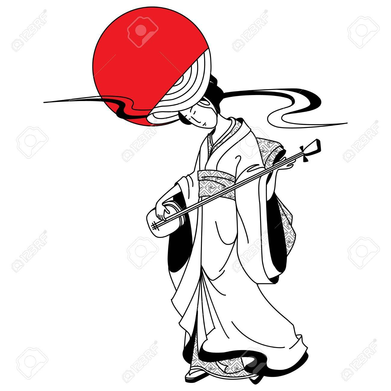 1300x1300 Japanese Geisha Girl On The Background Of The Red Sun Royalty Free