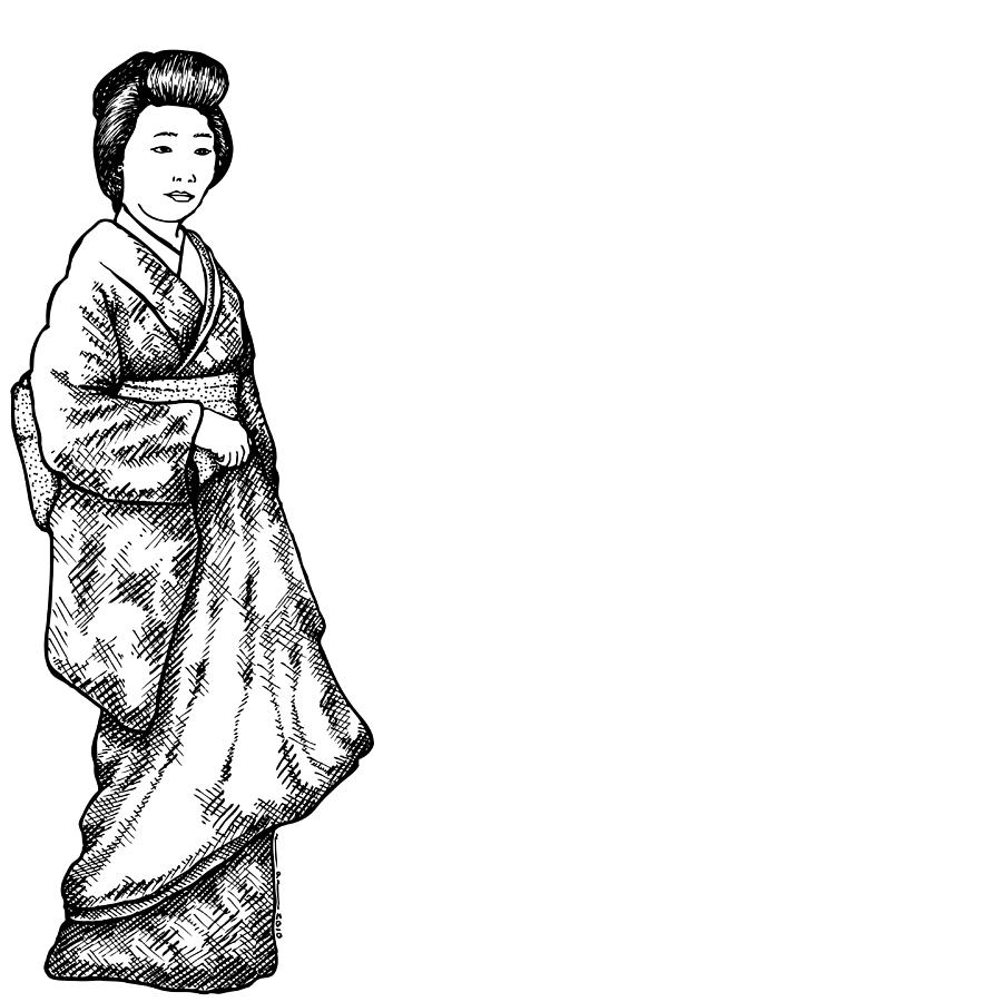 900x900 Japanese Geisha Women Drawing By Karl Addison