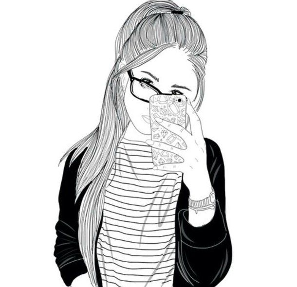610x590 Black And White, Drawing, Follow, Girl, Outline, Outlines