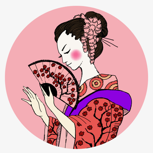 500x500 Kimono, Decoration Drawing, Japanese Girl Png And Psd File