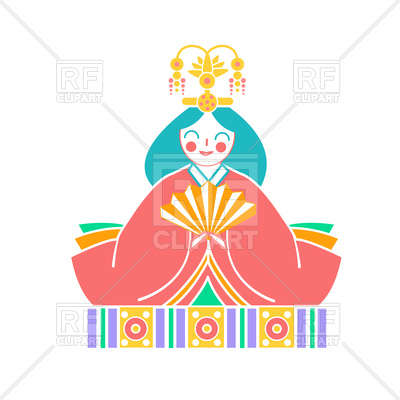 400x400 Japanese Empress Doll Icon In Linear Style Royalty Free Vector