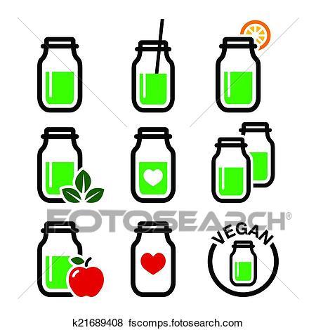 450x470 Clip Art Of Green Shake, Green Smoothie Jar K21689408