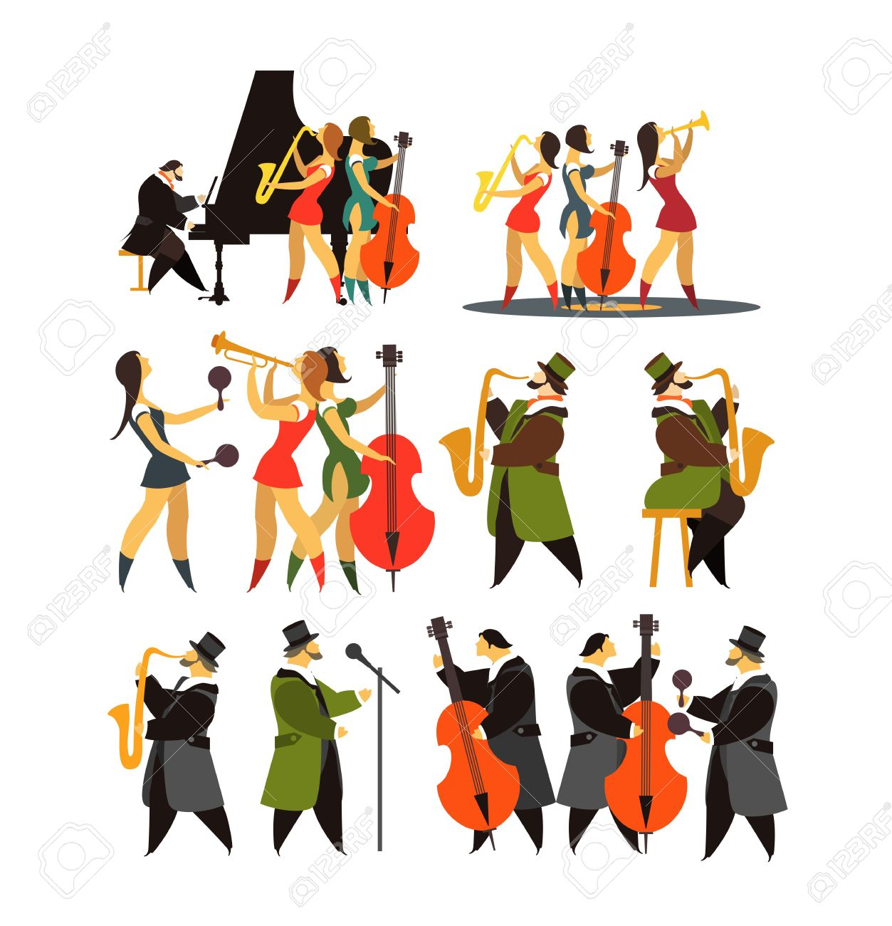1253x1300 Abstract Jazz Band, Jazz Music Party Invitation Design Vector