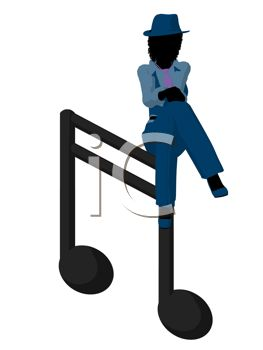 263x350 Silhouette Of A Jazz Woman Sitting On A Musical Note