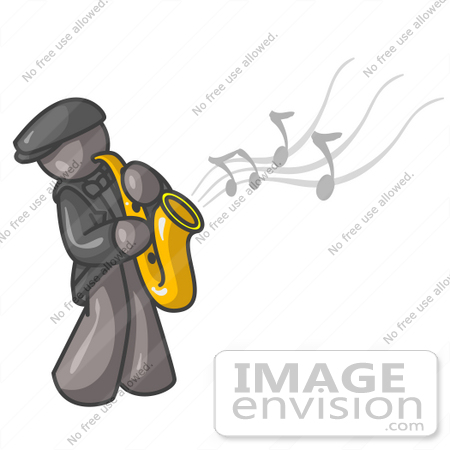 450x450 Cliprt Graphic Of Grey Guy Character Playing Jazz Music
