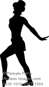 169x300 Clip Art Image Of A Jazz Dancer Performing In Silhouette