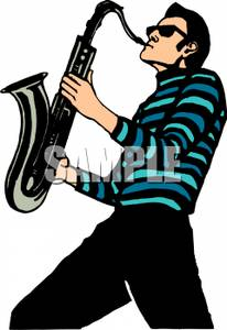 206x300 Musician Playing A Saxophone