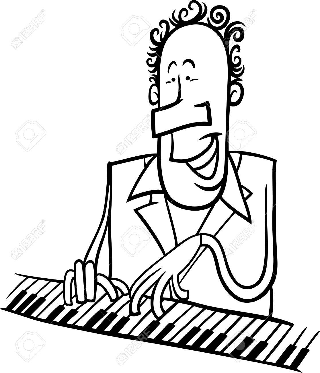 1116x1300 Black And White Cartoon Illustration Of Pianist Or Jazz Musician