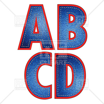 400x400 Jeans Letters A, B, C And D Royalty Free Vector Clip Art Image