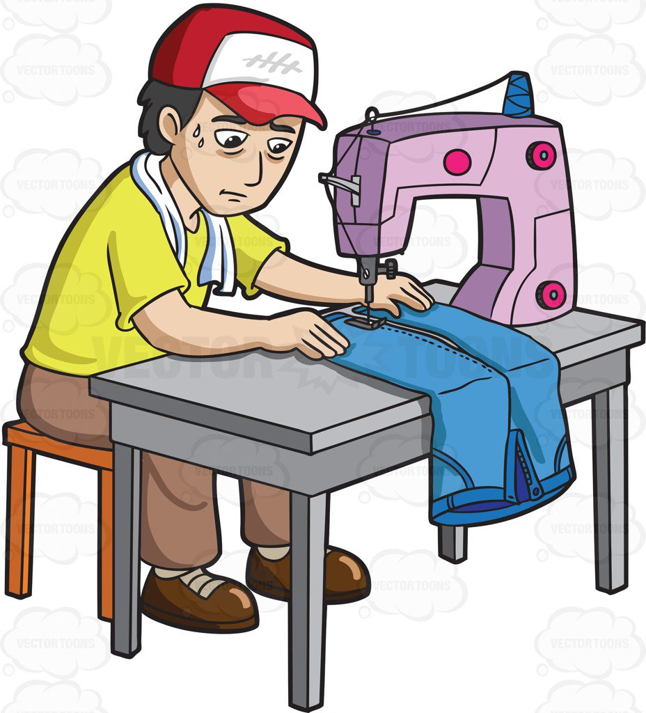 928x1024 A Factory Worker Sewing A Pair Of Jeans Cartoon Clipart