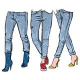 160x160 Fashionable Skinny Denim Jeans Outline, Vector Illustration, Clip