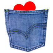 170x170 Stock Photo Of Red Heart In A Back Pocket Of A Jeans K22324183
